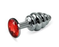 Анальная пробка Silver Small Plug рифленая красная