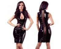 Платье лаковое черное на шнуровке Black Level XL