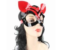 Маска кошки черно-красная лакированная